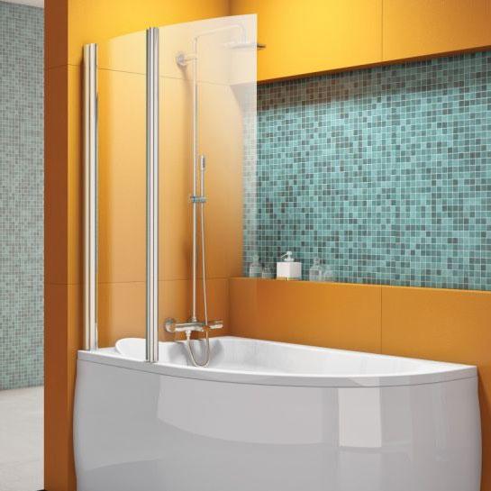 Vasca angolare con parete doccia - Doccia con tubi esterni ...