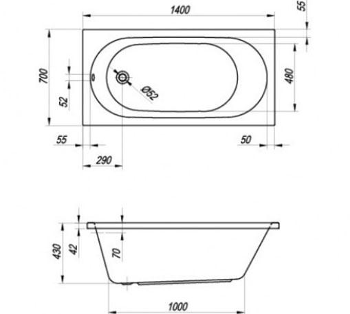 vasca rettangolare fuori misure 140 x 70 cm